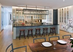 44PL Open, Spacious Kitchen with Long Counter Kitchen Dining Contemporary Cottage by Joeb Moore & Partners