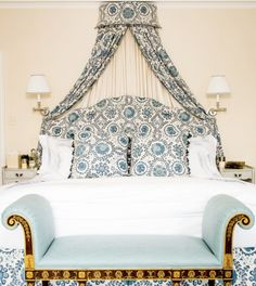 Beautifully classic bedroom - sconces, blue and white, bench - Sarah Gilbane