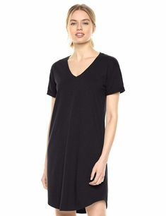 Amazon Brand - Daily Ritual Women's Lived-in Cotton Roll-Sleeve V-Neck T-Shirt Dress