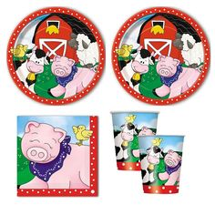 Amazon.com: Farm Friends Party Pack for 16 guests, lunch plates, napkins, cups: Toys & Games