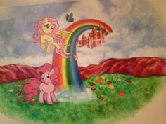 My Little Pony acrylic painting in kids room