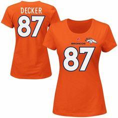 Eric Decker Denver Broncos Ladies Fair Catch White Letters T-Shirt - Orange