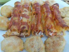 Τυρένια κανελόνια με ζαμπόν-μπέικον Shrimp, Sausage, Pasta, Meat, Food, Sausages, Essen, Meals, Yemek
