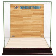 Steiner Sports Glass Basketball Display Case with Oklahoma City Thunder Logo On Court Background, Multicolor
