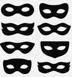 Cricut Template Superhero Eye Masks Masquerade silhouette no fill PNG Files Cutting Machines scrapbooking Silhouette Studio vinyl stencil