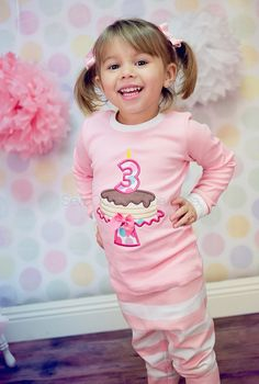 Custom Girls Pink Pancakes and Pajamas by SewCloseToTheEdge