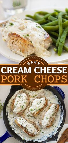 Cream Cheese Pork Chops is a delicious pork recipe ready in under 30 minutes! This easy dinner idea is cooked perfectly in a skillet and then coated in a cream cheese mixture. Pin this homemade and easy main dish!
