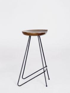 * Wood and metal stool
