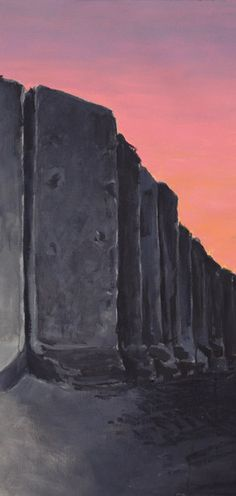 Oil painting We Bring Freedom, by painter Airco Caravan. Sunset and the blast wall around the US embassy in Iraq. Caravan, Freedom, Bring It On, Sunset, Artist, Painting, Liberty, Truck Camper, Political Freedom