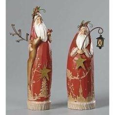 Set of 4 Folk Art Santa Figures Christmas Decorations