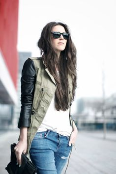 coat. army + leather sleeves.