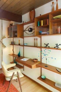Mid-century modern shelving unit with desk. Eichler built home. Fantastic vintage shelving unit with built-in desk.