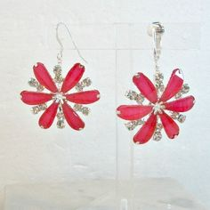 Pretty hot pink earrings for the summer! Handmade earrings big hot pink rhinestone flower clip on or pierced