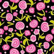 CUTE PINK ROSES on Black Print Fabric By the Yard by ByTheYard4U