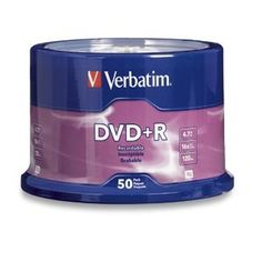 Verbatim DVD+R 16X, 50 pack in cake-box branded on top by Verbatim. $14.95