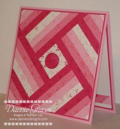 handmade Quilt Card ... monochromatic pinks ... strip quilt pattern ... luv it!