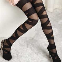 Buy Sexy Women Goth Rocker Mesh Black Cross Band Vintage Stretch Stockings Tights Leggings (Color: Black) at Wish - Shopping Made Fun Ripped Tights, Black Tights, Black Leggings, Sheer Tights, Black Pantyhose, Nylons, Leggings Sale, Opaque Tights, Women's Leggings