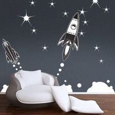 8 space theme modern grey gray black kids room childs bedroom boys girls unisex