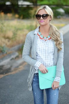 gray button up + cardigan