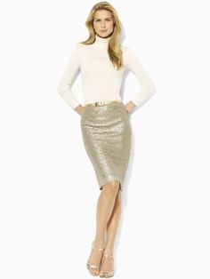 Sequin Pencil Skirt, something I haven't invested in yet but I love the champagne color of this Ralph Lauren pick!   $129.99
