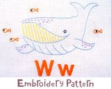 """Whale Embroidery - PDF Accessory Pattern"". Available at www.pinkcastlefabrics.com."