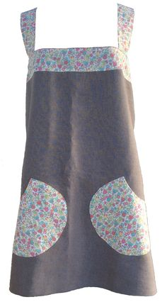 A full apron which crosses over at the back, so no fiddly ties, made from beautiful linen with Liberty Tana Lawn cotton straps and roomy pockets. Pinafore Apron, Liberty Print, Small Flowers, Natural Linen, Crosses, Lawn, Ties, It Is Finished, Pockets