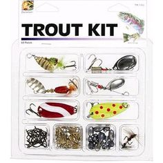 Danielson Trout Kit with Lures and Tackle, 68 Pieces, Multicolor
