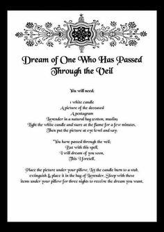 passed on loved ones dream spell Witchcraft Spell Books, Wiccan Spell Book, Magick Spells, Wicca Witchcraft, Witch Spell, Moon Spells, Blood Magic Spells, Hedge Witchcraft, Wiccan Books