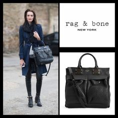 """RAG & BONE LARGE STUDDED PILOT Black supple smooth leather mixed with luxurious studded leather and shiny grain leather. Styled with winged sides, gold-stamped logo at top line, zipper top closure, two plush-stud flap pockets at front, zip pocket at back; gunmetal hardware and protective metal feet. Interior lined with black canvas, white leather-trimmed zipper pocket and ivory canvas slip pocket. Rolled leather handles; detachable, adjustable leather shoulder strap with shoulder rest. 11.5""""…"""