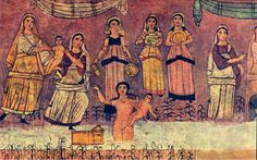 """Infancy of Moses (Detail) from the Dura Europos Synagogue  """"On the left, anattendant of Pharaoh's daughter lifts Moses from the basket which has been floating on the Nile. Pharaoh's daughter, then hands the infant to another figure, Moses's mother, to be nursed (Exod 2:5-10). """" - http://divdl.library.yale.edu/dl/OneItem.aspx?qc=Eikon&q=4160 #yocheved #jochebed (bat paroah) (pharoah's daughter)"""