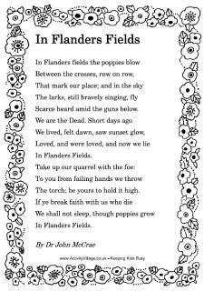 Remembrance Day Poems including In Flanders Fields