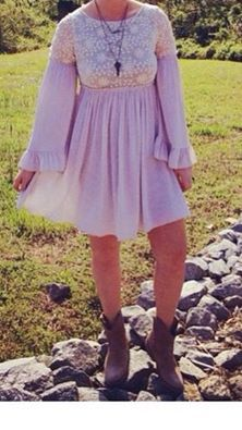 New! Shipments with gorgeous dresses such as this vintage boho look with lace detail. Sm thru lg. $89.  Tula J Boutique is a trendy boutique in Trussville, AL that carries ladies and tween clothing, purses, shoes, jewelry, accessories, and more! Call (205) 655-5333 or stop by TODAY if you'd like to buy this item!