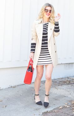 striped shift dress-burberry trench-red bag