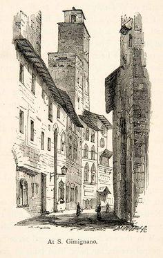 1876 Wood Engraving San Gimignano Italy Medieval Siena Italy Tuscany XGMB6