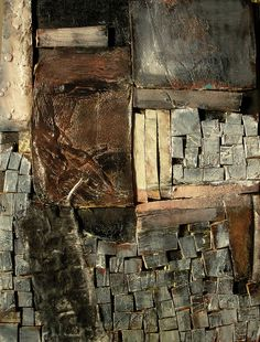 Jeane Myers ~ Again with the Squares (mixed media)