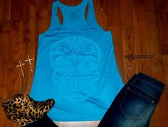 Jewel Sugar Skull Turquoise Tank $20 Top www.gypzranch.com