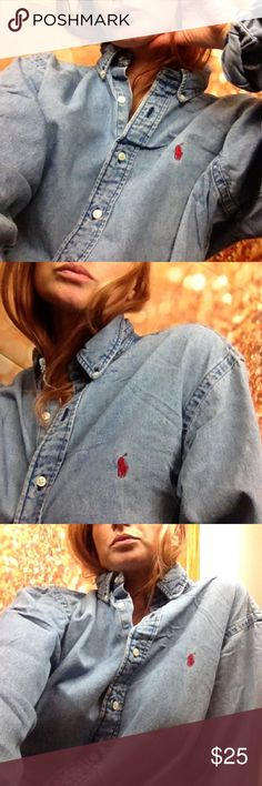 Ralph Lauren Denim Button Down Long Sleeve XL Classic on trend oversized Ralph Lauren XL light wash cotton button down shirt. Vintage in excellent condition. No flaws. Smoke free home. Ralph Lauren Tops Button Down Shirts