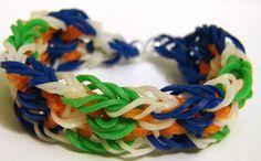 Браслеты из резинок, Испанское кружево - яркий браслет с использованием нескольких цветов резинок небольшого диаметра. Непростой в изготовлении, но красивый браслет.