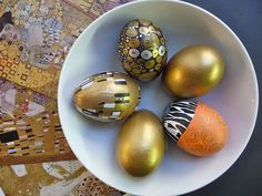 Painted Eggs 3 - Inspired by artist Gustav Klimt and Aesop's Fable The Goose That Laid The Golden Egg.