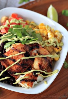 Grilled Tilapia Bowls ... with Chipotle Avocado Crema