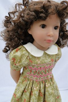 Smocked dress for Kidz N Cats doll by dancingwithneedles on Etsy, $35.00