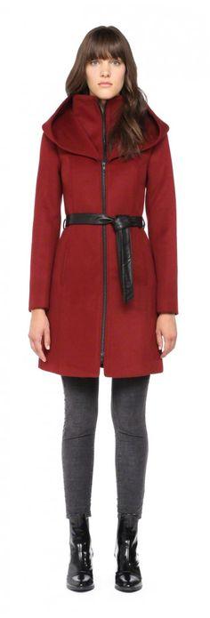 Soïa & Kyo Asia-F4 Oxblood Winter Wool Coat with Hood