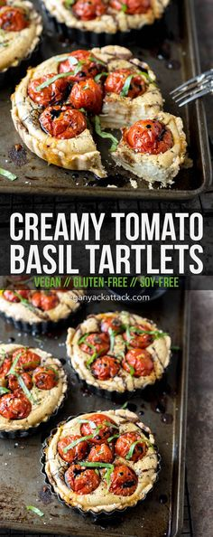 Summer is coming to an end, so use up some of those tasty, garden-fresh tomatoes in these delicious, gluten-free, soy-free tartlets! Vegetarian Recipes Dinner, Vegan Dinners, Vegan Recipes, Free Recipes, Vegan Food, Dinner Recipes, Vegan Pizza, Paleo Vegan, Sin Gluten