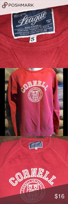 League a Brand Cornell French Terry Sweatshirt S What a high end, comfy sweatshirt. You will not believe the pristine condition, as it has only been worn once. The color is a muted coral-ish red. The material is a French Terry, which is super comfortable & holds its crispness. The Cornell logo is on the front in Ivory. Embroidered brand logo on the left sleeve.  The detail on this shirt is impressive, stitched V on the neck & French Terry lining means no pilling. Smoke-free, absolutely perfect. Represent Big Red with this special shirt. League Tops Sweatshirts & Hoodies