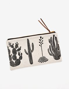 Diverse varieties of desert dwellers decorate this printed pouch from Amelie Mancini, handcrafted in natural linen. - Linen - Brass zipper with leather pull - wide x tall - Handmade in New York Makeup Pouch, Makeup Bags, Cactus Print, Printed Linen, Leather Pouch, Natural Linen, Who What Wear, Fashion Accessories, Fancy