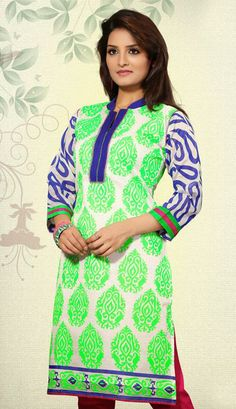 USD 99.1 Off White Printed Silk Kurti 28619