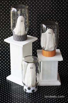 Ghosts in Jars Mason Jar Craft - Halloween Craft Ideas with Mason Jars - Mason Jar Craft Ideas for Halloween
