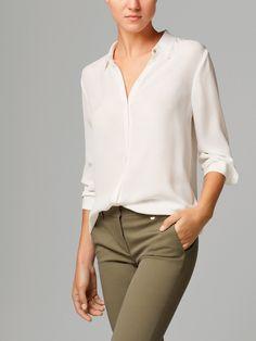 84dfb9ea164291  MassimoDutti  White  Shirt Fringed Shirt