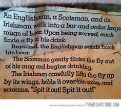 An Englishman, a Scotsman and an Irishman…
