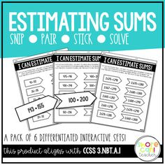 This interactive activity will keep your kids engaged and fully engrossed in their learning! Students can practice estimating sums of two-digit, three-digit, and four-digit numbers by rounding numbers to the nearest ten or hundred before adding. Students will cut out each puzzle piece and match them according to the rounded version of the number